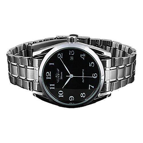 Gute Classic Mechanische Uhr Schwarzes Zifferblatt Silber Stahl Armband self wind men standard