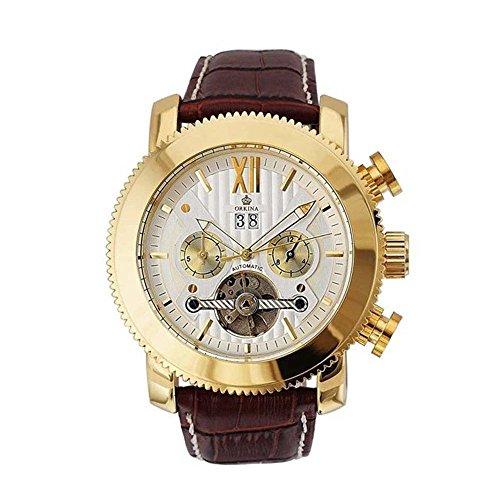 Gute Luxus Oversized Weiss Gold Automatische Mechanische Armbanduhr Braun Lederband Datum Tag