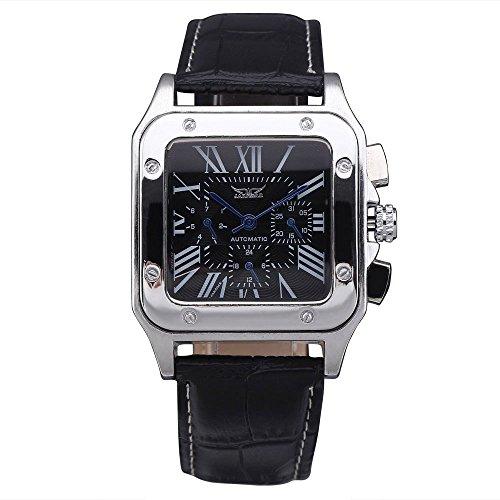Gute Quadratischer Herren Automatische mechanische Armbanduhr mit schwarzem Zifferblatt schwarz Lederband