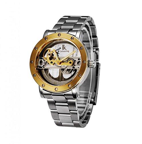Gute Luxus Steampunk Bling Automatische Mechanische Armbanduhr Golden Luenette Minimalist Edelstahl