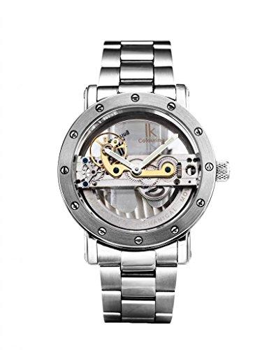 Gute Luxus Steampunk Bling Auto Mechanische Armbanduhr Edelstahl silber minimalistisch Armbanduhr