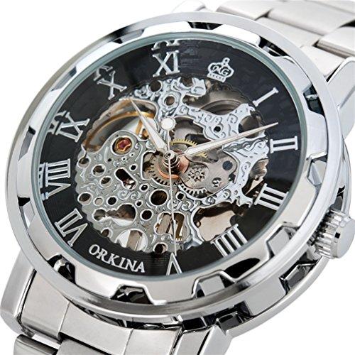 Gute Steampunk Style Silber Schwarz Herren Skelett Mechanische Armbanduhr aufziehbar