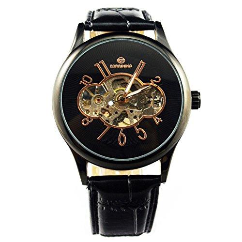 Gute Vintage Unisex Schwarz Mechanische Armbanduhr Skelett aufziehbar PU Band Luminous
