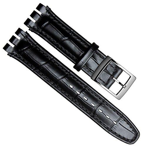 Gruen Oliv 19 mm Alligator Grain Kuh Leder Edelstahl Schnalle Uhrenarmband schwarz