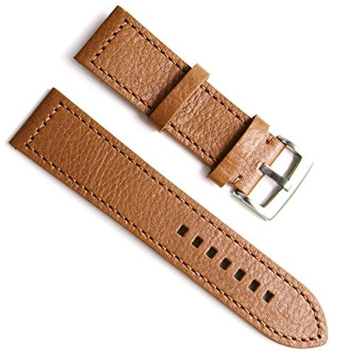Greenolive 23 mm Handgefertigt Vintage Rindsleder Leder Uhrenarmband Armbanduhr Band braun Stitch braun