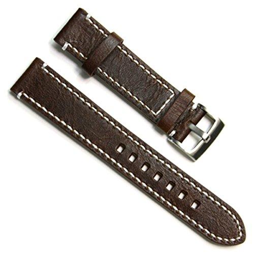 Gruen Oliv 23 mm Handgefertigt Vintage Rindsleder Leder Uhrenarmband Armbanduhr Band White Stitch Kaffee