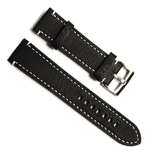 Gruen Oliv 19 mm Handgefertigt Vintage Rindsleder Leder Uhrenarmband Armbanduhr Band White Stitch schwarz