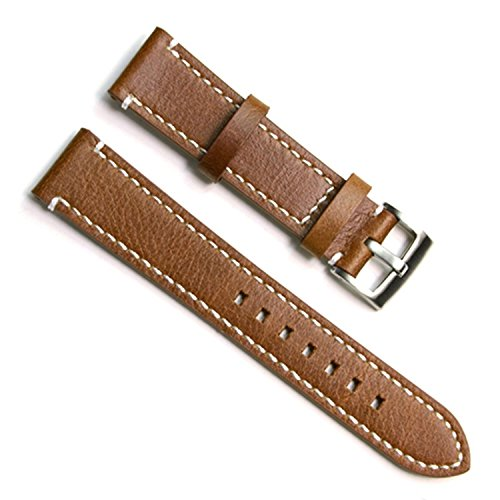 Gruen Oliv 21 mm Handgefertigt Vintage Rindsleder Leder Uhrenarmband Armbanduhr Band White Stitch braun