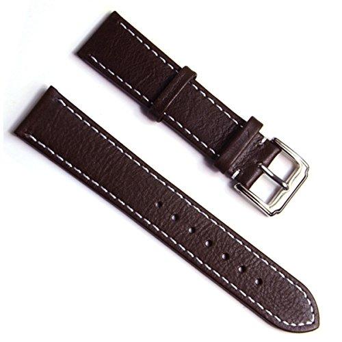 Gruen Oliv handgefertigt Vintage 20 mm Schaffell Leder Uhrenarmband Deep Brown