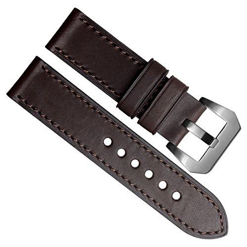 Gruen Oliv 22 mm Officine Panerai Stil Echt Leder Silber Edelstahl Schnalle Uhrenarmband braun