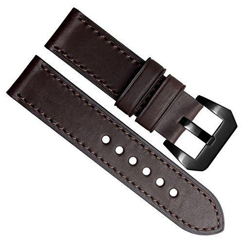 Gruen Oliv 24 mm Officine Panerai Stil Echt Leder Schwarz Edelstahl Schnalle Uhrenarmband braun