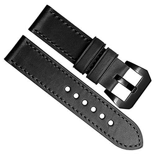 Gruen Oliv 24 mm Officine Panerai Stil Echt Leder Schwarz Edelstahl Schnalle Uhrenarmband schwarz