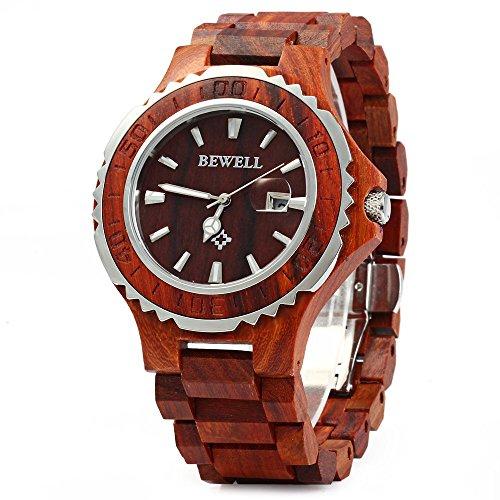 Bewell Leopard Shop ZS 100BG Gehaeuse aus Metall und Holz wasserdicht bis 30 m Quarz Uhrwerk rotes Sandelholz