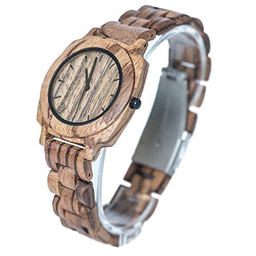 Bewell Maenner Aultrathin Zebra Holz Armbanduhren Hohe Qualitaet Quarz Analog Uhren