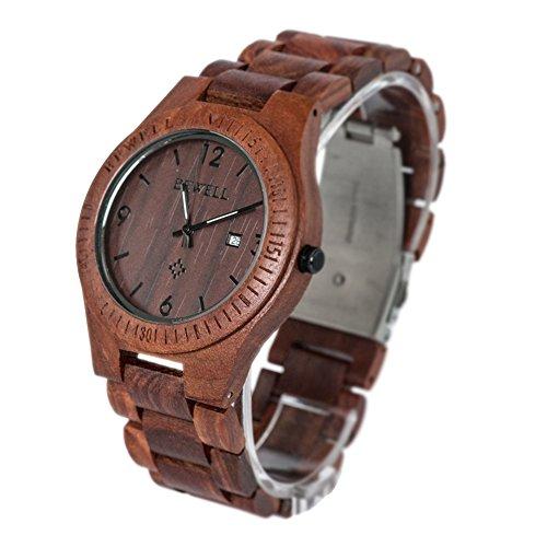 Bewell Maenner Aultrathin Sandale Holz Armbanduhren Hohe Qualitaet Quarz Analog Uhren Rot