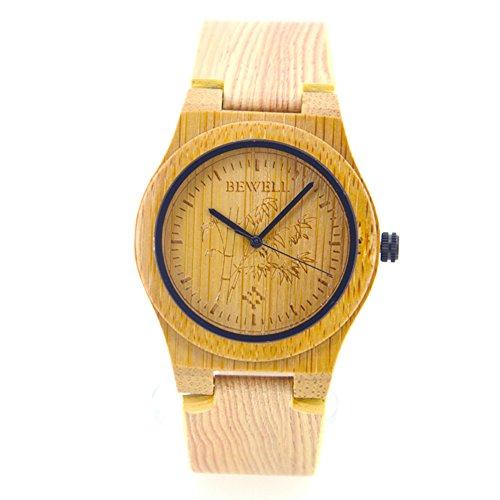 Bewell Maenner Carbonized Bambus Holz Armbanduhr mit Echtem Leder Armband hochwertiges Quarz Analog Uhren Natuerlichen Stil