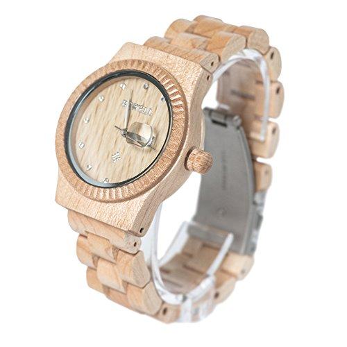 Bewell Damen Ahorn Holz Armbanduhren Hohe Qualitaet Quarz Analog Uhren