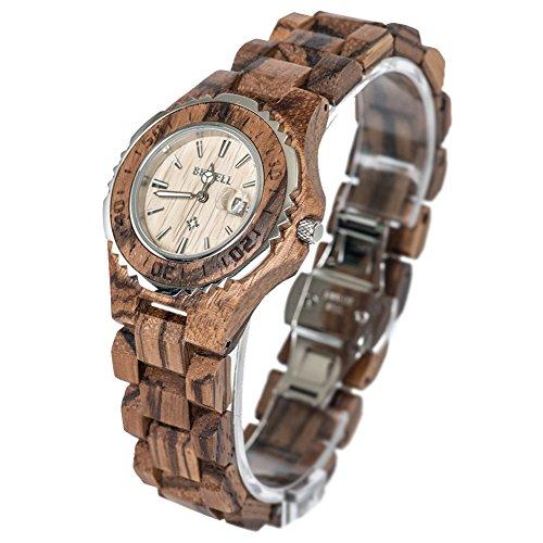 Bewell Damen Zebra Holz Armbanduhren Hohe Qualitaet Quarz Analog Uhren