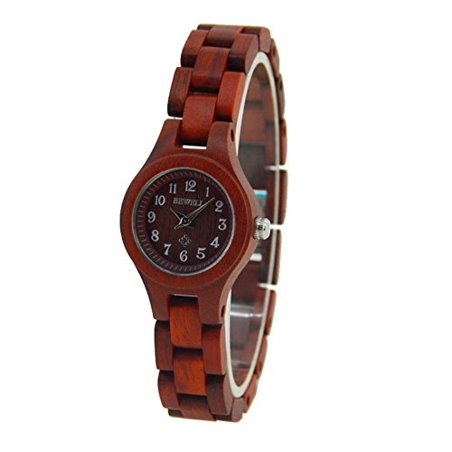 Bewell Frauen Holz Uhren Qualitaets Frauen Sandelholz Armbanduhr Quarz analoge Uhr