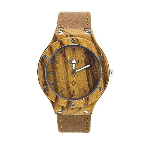 Bewell Zebra Holz Armbanduhren Hohe Qualitaet Quarz Analog Uhr mit Leder Armband