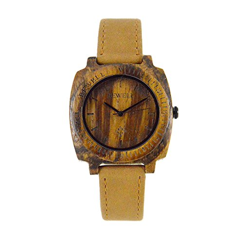 Bewell Men s Zebra Holz Armbanduhren Hohe Qualitaet Quarz Analog Uhren mit Lederarmband