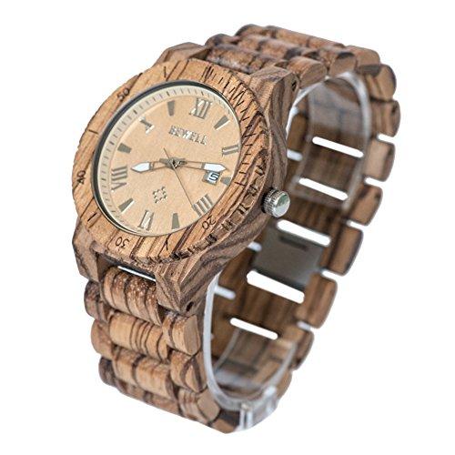 Bewell Maenner Zebra Holz Armbanduhren Hohe Qualitaet Quarz Analog Uhren