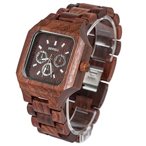Bewell Maenner Sandale Holz Armbanduhren Hohe Qualitaet Quarz Analog Uhren Rot