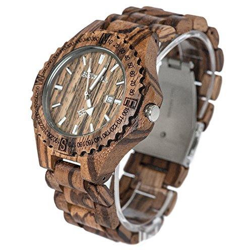 Bewell Maenner Zebra Holz Armbanduhren Hohe Qualitaet Quarz Analog Uhren Dunkel