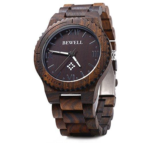 Leopard Shop Bewell ZS w065 a Holz Herren Quarzuhr Armbanduhr Roemische Zahl Waage Ebenholz