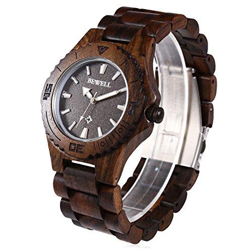 Leopard Shop Bewell ZS w020ag Stecker Quarzuhr Luminous Pointer Nail Massstab Holz Armbanduhr Ebenholz