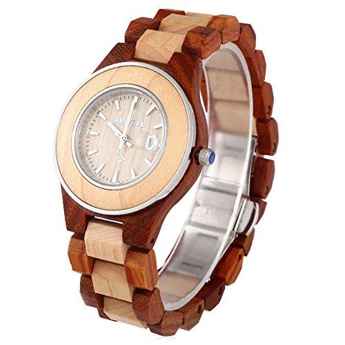 Leopard Shop Bewell ZS w100al Frauen Quarzuhr Luminous Pointer Kalender Holz Nail Massstab Armbanduhr Ahorn rot