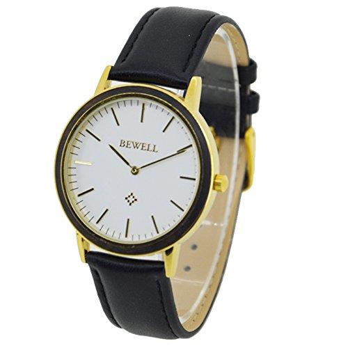 Bewell Unisex Armbanduhr Qualitaets Quarz Analoguhren mit Lederband Gold