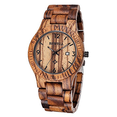 Bewell Kaffee Farbe Zebrano Holz Quarz Analog Kalender Display Armbanduhr