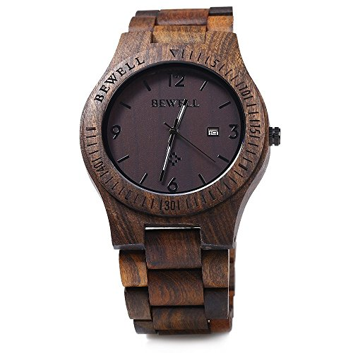 GBlife BEWELL ZS W086B Holz Armbanduhr Quarzwerk Datumsanzeige Retro Style EbonyHolz