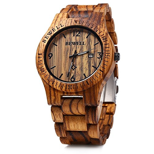 GBlife BEWELL ZS W086B Holz Armbanduhr Herrenuhr Quarzwerk Datumsanzeige Retro Style ZebraWood