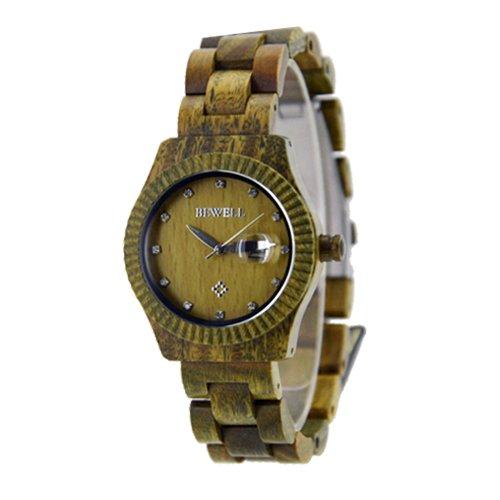 Handgefertigt aus Holz rund Armbanduhr Made mit Natur Holz in gruen fuer Frauen hgw 200