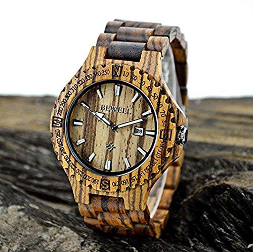 Soriace Holz Uhren Fuer Herren Handgefertigt Wasserdicht Holz Armbanduhr Quarzuhren mit Kalender und Lichtfunktion Zebrano Braun Sandelholz