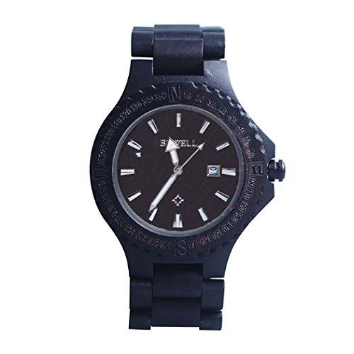 Soriace Holz Uhren Fuer Herren Handgefertigt Wasserdicht Holz Armbanduhr Quarzuhren mit Kalender und Lichtfunktion Schwarz Sandelholz 1