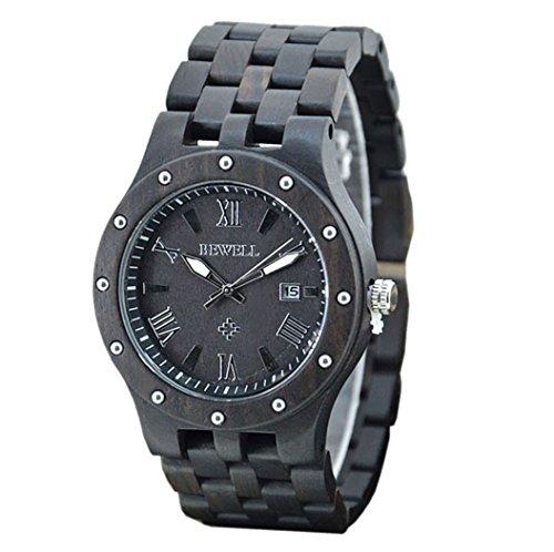 Soriace Holz Uhren Fuer Herren Handgefertigt Wasserdicht Holz Armbanduhr Quarzuhren mit Kalender und Lichtfunktion Schwarz Sandelholz 2