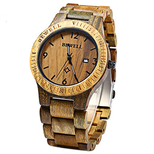 Leopard Shop Bewell ZS w086b Holz Quarz Analog Datum Display Kompass