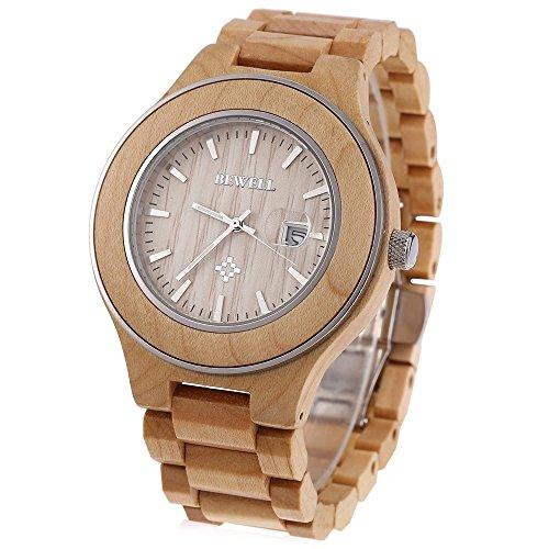 Leopard Shop Bewell ZS w100ag Herren phosphoreszierende Zeiger Datum Nail Massstab Holz Armbanduhr Hellbraun