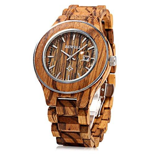 Leopard Shop Bewell ZS w100ag Herren phosphoreszierende Zeiger Datum Nail Massstab Holz Armbanduhr Camel