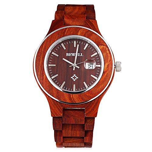 Leopard Shop Bewell ZS w100ag Herren phosphoreszierende Zeiger Datum Nail Massstab Holz Armbanduhr Rot Sandelholz