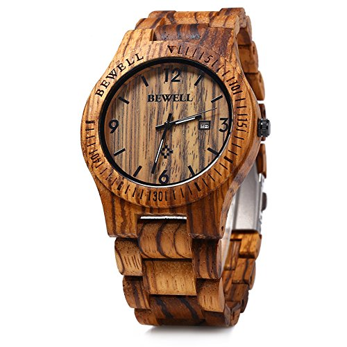 Leopard Shop Bewell ZS w086b Holz Quarz Analog Datum Display Zebra