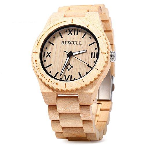 Leopard Shop Bewell ZS w065 a Holz Herren Armbanduhr Roemische Zahl Waage Ahorn