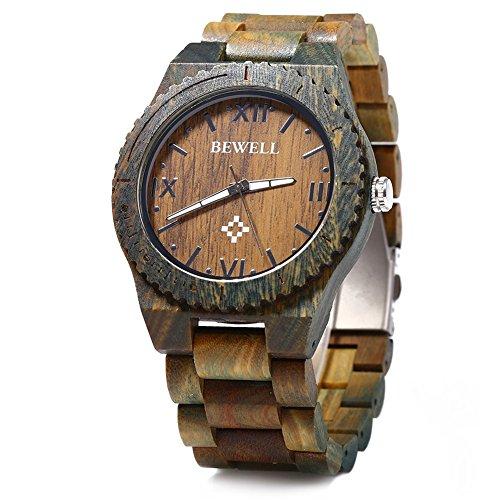 Leopard Shop Bewell ZS W065A Herren Quarzuhr aus Holz roemische Ziffern