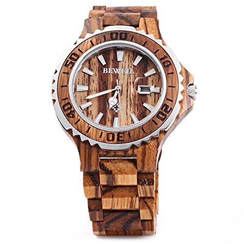 Leopard Shop Bewell zs 100bg Herren Metall Fall Holz mit Metall Fall 30 m Wasser Widerstand Zebra