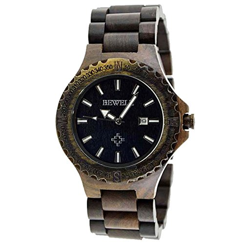 sililun Armbanduhren Holz Uhren fuer Maenner mit Kalender Herren Ahorn Holz Uhren schwarz
