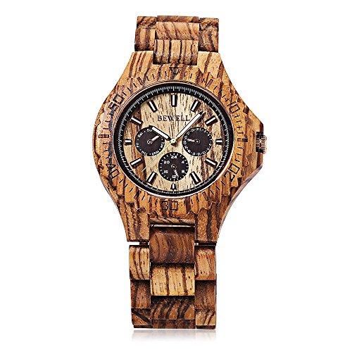 BEWELL 116B Maenner Quarz Uhr Datum Tag 24 Stunden Anzeigen Leuchtende hoelzerne Armbanduhr