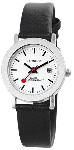 Bahnhof mit Lederimitationsarmband Armbanduhr Uhr Weiss 100322000152